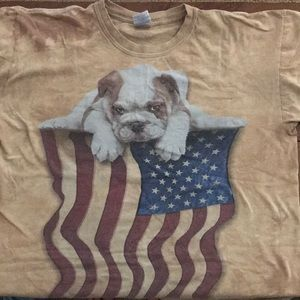 Bulldog with American flag t-shirt